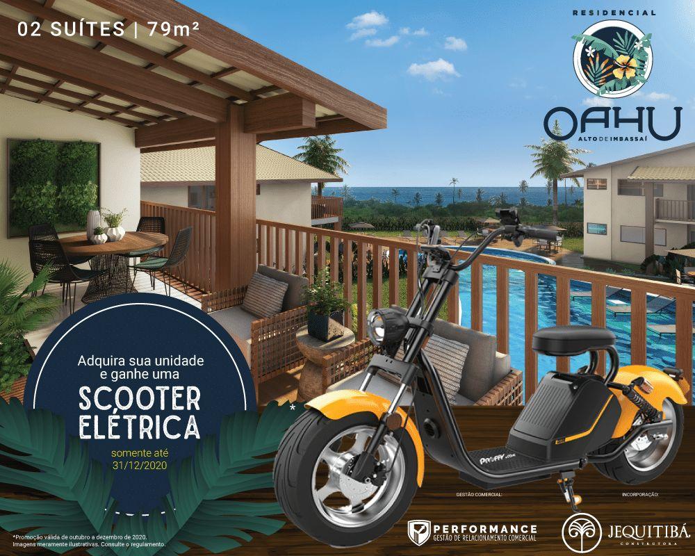 A Jequitibá Construtora está premiando com uma Scooter Elétrica os compradores do OAHU